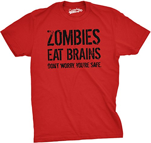 Mens Zombies Eat Brains So You're Safe Funny T Shirt Living Dead Halloween Tee (Red) - XL