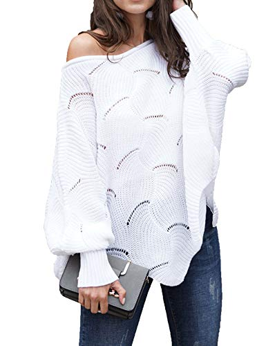 (Relipop Women's Pullover Batwing Sleeve Loose Hollow Knit Sweaters White)
