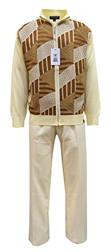 STACY ADAMS Men's Sweater & Pant Set, Honey-Comb Jacquard (Cream, 3XL/44)
