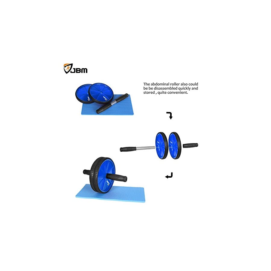 JBM Abdominal Wheel Roller with Knee Pad(5 Colors Abwheel Abroller Ab Core Trainer Equipment Dual Wheels Rubber Handle Anti Slip for Exercise Workout Gym Fitness Crossfit 440lbs Capacity
