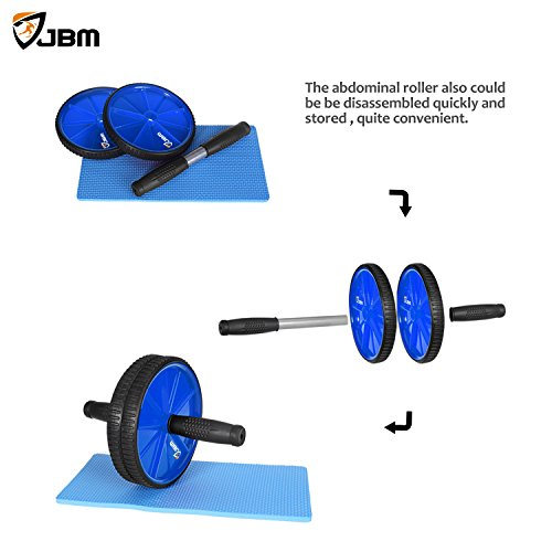 JBM Abdominal Wheel Roller(4 colors Abwheel Abroller Ab Core Trainer Equipment Dual Wheels Rubber Handle Anti Slip for Exercise Workout Gym Fitness Crossfit 440lbs Capacity
