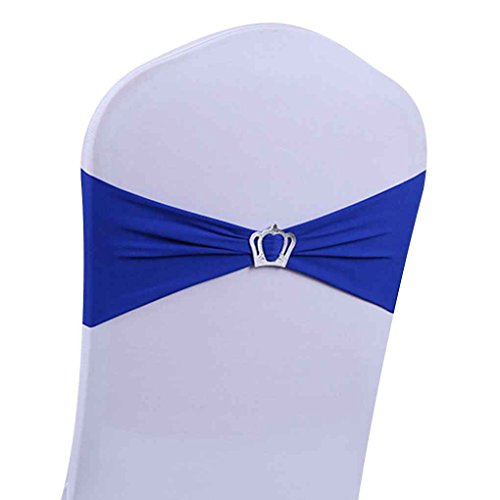 Cocoray Stretch Chair Coverings Straps Crown Ribbon Bow Seat Strap Wedding Chair Back Decor