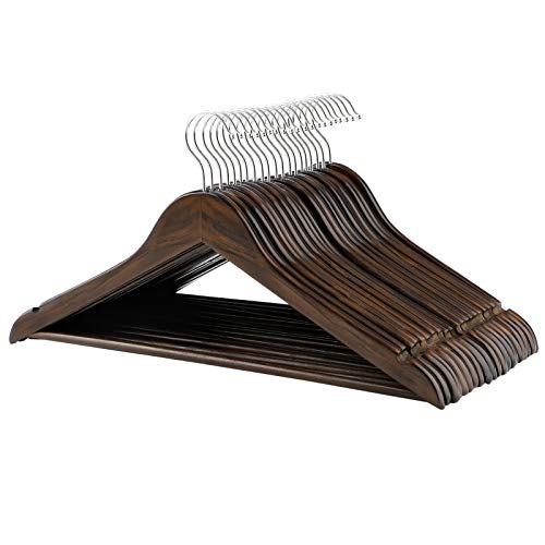 SONGMICS Clothes Hangers, 20 Pack, Solid Wood Hangers with 360 Degree Swivel Hook, Shoulder Notch, Non-Slip, Dark Walnut Color - Clothes Wood Hangers