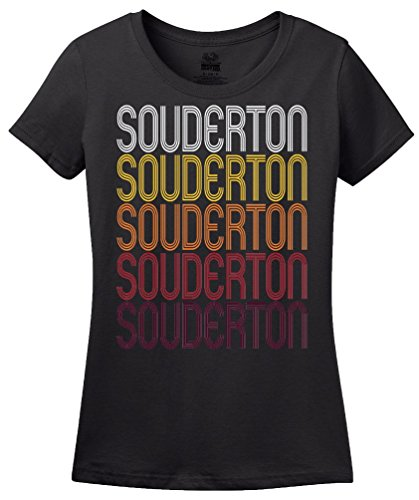 Souderton, PA | Retro, Vintage Style Pennsylvania Pride T-shirt-(Ladies,S) (Pa Souderton)