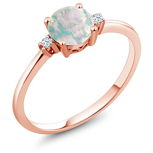 Gem Stone King 10K Rose Gold Engagement Solitaire Ring set with 0.33 Ct Cabochon White Simulated Opal and White Created Sapphires (Size 6)