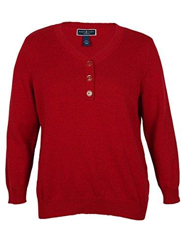 Karen Scott Womens Plus Knit Ribbed Trim Henley Sweater Red (Scott V-neck Cardigan)