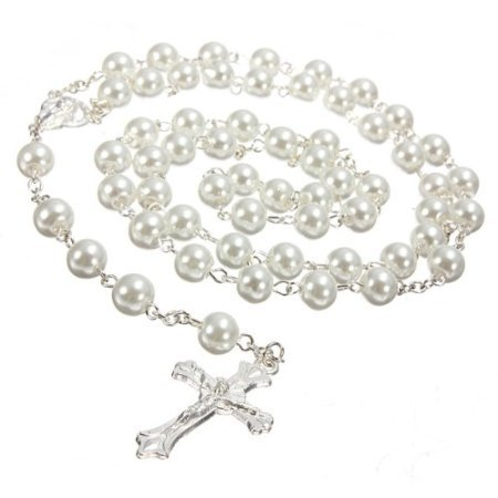 White pearl effect rosary. First Holy Communion present. Holy Communion Gift. Girls First Rosary. Baptism rosary: Amazon.co.uk: Kitchen & Home