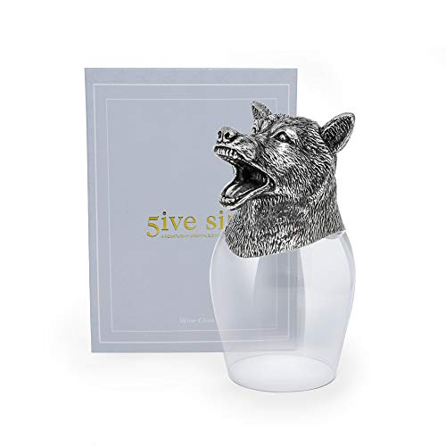 (5ive Sis Refined Finest Pewter Wine 12 Chinese Zodiac Shape Glass Head Stand Lead-free Crystalline Zodiac Horoscope Holy Collection WGR664 (Wolf))