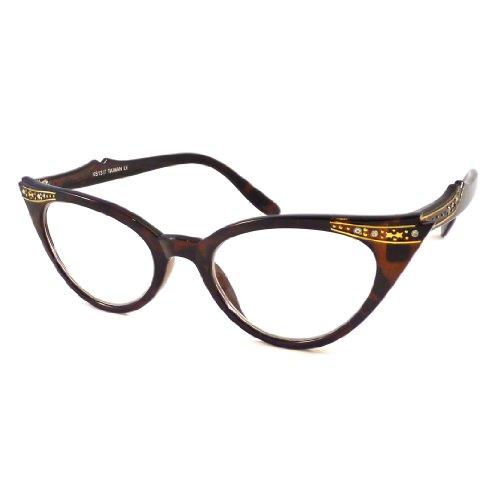 VINTAGE Rhinestone Women Cat Style Frame Clear Lens Eye Glasses - Frames Vintage Rhinestone Eyeglass