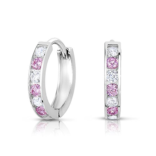Sterling Silver Huggie Hoop Earring Channel Set with Alternating White and Pink Cubic Zirconia (Diameter 0.5