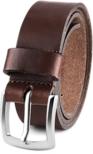 Men's Casual Full Grain Classic Leather Dress Belt For Jeans,1.5