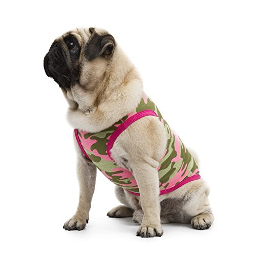 [Kuoser Fashion Small Pet camouflage Dog Cotton T- shirt Vest Spring Summer Dog tank Comfy Vest Pajamas Pet Costumes XS -L,pink] (Spider Costume Pattern Free)