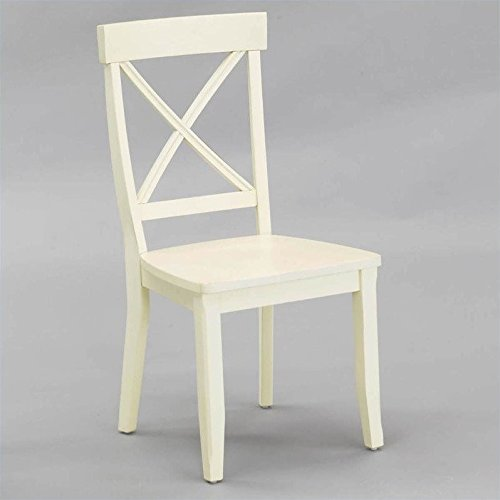 Home Styles 5177-802 Dining Chair, Antique White Finish, Set of 2 (Chairs Back Cross Kitchen)