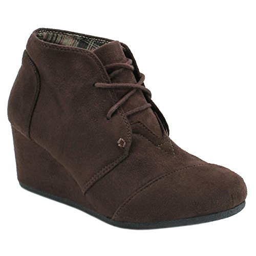 Women's Round Toe Lace Up Wedge Heels Suede Ankle Boots Booties (10, Brown)