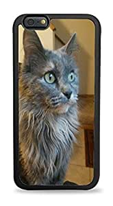 Grey Cat Black Silicone Case for iPhone 6+ (5.5)