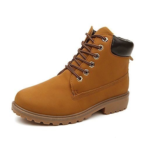Retro Women's Work Lace Boots Yellow Up Martin Outdoor Stunner Waterproof Boots Ankle qwAt4xdT
