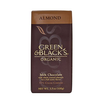 Green Black Milk Chocolate With Almond 3.5 Oz (Pack of 10) - Pack Of 10