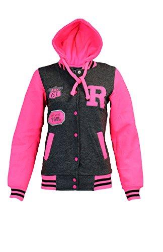 Kids Girls Boys Unisex R Baseball Bomber Jacket Varsity Letterman Hoodie 3-14 Yr -