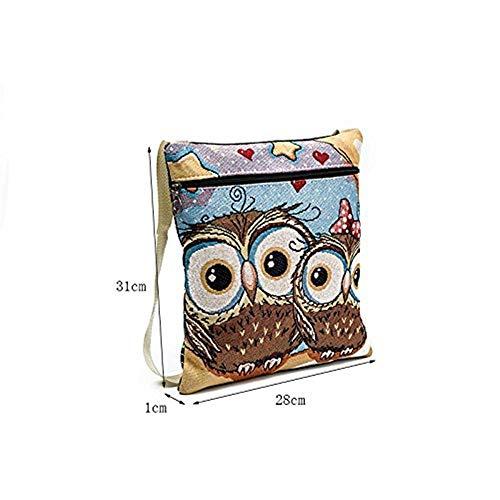 con unica con Borsa a di Owl6 mano Taglia tracolla a a per Owl8 stampa borsa stampata Colore animato gufo cartone tela in tracolla Dimensione Stachel tracolla Bohemian 44Oqrxf