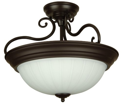 Craftmade X124-W Bowl Semi-Flush Mount Light with Frosted Melon Glass Shades, White -