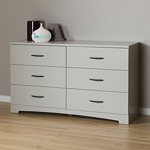 Cheap Furniture south shore step one 6 drawer double dresser soft gray with matte nickel