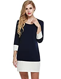 Meaneor Women's Color Block Patchwork 3/4 Sleeve Casual Shift Dress with Pockets