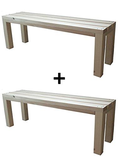 2X Banc banquette de jardin en bois exterieur interieur balcon terrasse parc 150x38.5x50H également disponible sur mesure! total wood 2012
