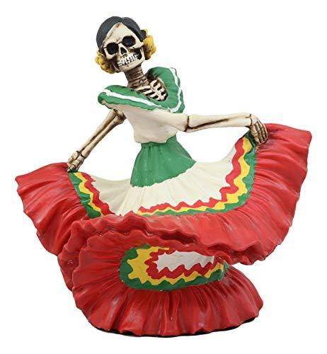 Ebros Dia De Los Muertos Danza De DAMA Day of The Dead Red Matador Lady Skeleton Dancer Statue 5.25