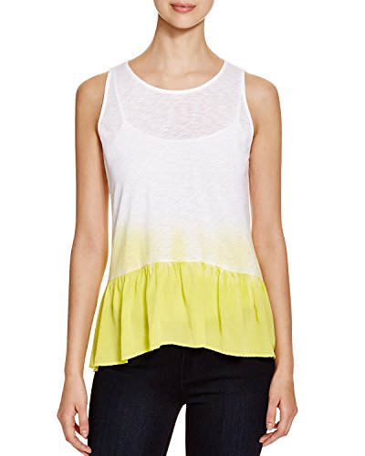 Red Haute Women's Dip Dye Peplum Tank Top In Highlighter (Yellow/White) Size ()