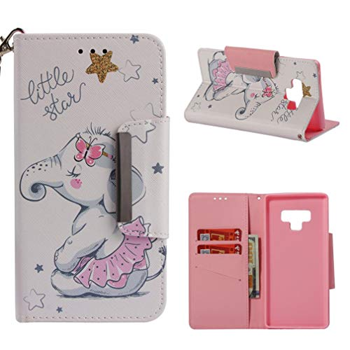 Firefish Galaxy Note 9 Case,Durable Shock Absorbent 3D Printing PU Leather Wallet Case Cover Dust Proof Credit Card Holder Magnetic Closure Wrist Strap for Samsung Galaxy Note 9 -Girl Elephant
