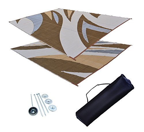 RV Patio Mat Awning Mat Trailer RV Rug Brown Kit 9x18