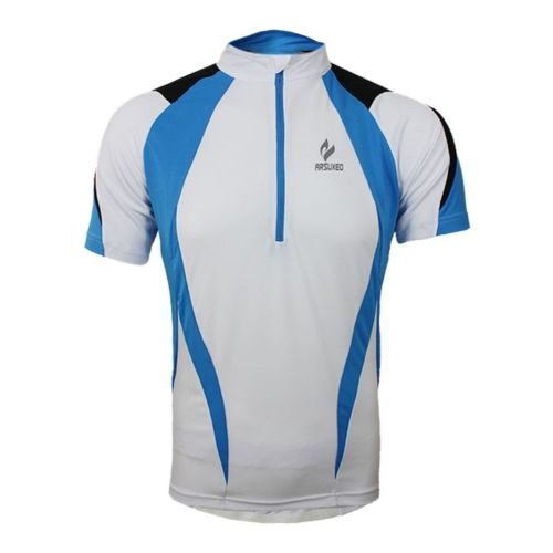 Arsuxeo Mens Outdoors Short Sleeve Breathable Quick Drying Cycling Jersey (L, Blue)