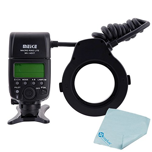 Mcoplus マクロリングライトMK-14EXT i-TTLマクロリングフラッシュ LEDライト AFアシストランプ付 Nikon D7100 D7000 D5200 D5100 D5000 D3200 D3100 D90 D300S D610 D600DSLR カメラ用 8 取付用リング付属 + Mcoplus クリーニング クロス