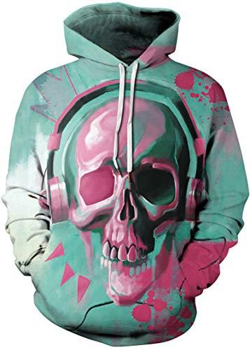 Pandolah Men's 2018 Fashion Novelty Sweatshirts Animal 3D Printed Hoodies (Pink Skull-f, Large/X-Large) (Skull Pink Hoodie)