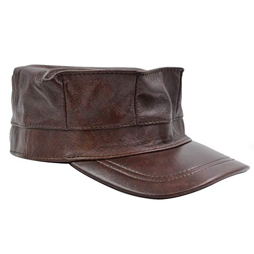 Sandy Ting Men's Cowhide Leather Military Cadet Flat Top Army Cap