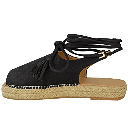 Fashion Thirsty Womens Lace Tie Up Strappy Low Flat Canvas Wedge Espadrilles Sandals Size Black Faux Suede nw1qT1g