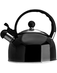 2.5 Liter Whistling Tea Kettle - Modern Stainless Steel Whistling Tea Pot for Stovetop with Cool Grip Ergonomic Handle - Black - Other Colors Available