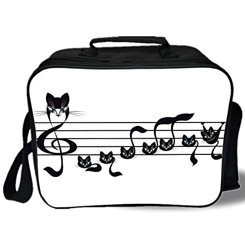 Insulated Lunch Bag,Music Decor,Notes Kittens Kitty Cat Artwork Notation Tune Children Halloween Stylized,for Work/School/Picnic, Grey