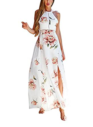 FFLMYUHULIU Women's Sexy Split Floral Off-shoulder Beach Party Maxi Dress (S, 001-White)