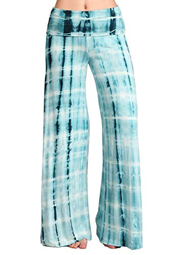 HEYHUN Womens Printed Tie Dye Solid Wide Leg Bottom Boho Hippie Lounge Palazzo Pants - Teal Multi - Medium