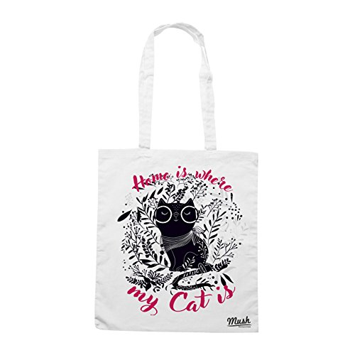 Borsa CASA È DOVE C'È IL MIO GATTO - CAT LOVERS - Bianca - MUSH by Mush Dress Your Style