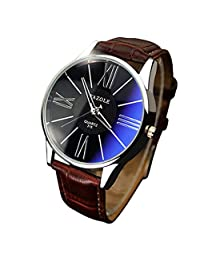 Redvive Luxury Fashion Leather Strap Wristwatch Mens Glass Dial Quartz Bracelet Analog Watches. (Brown)