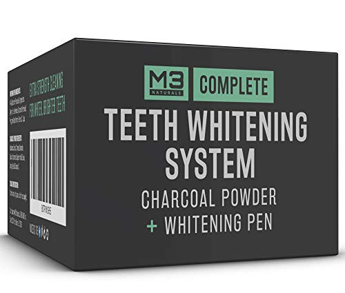 M3 Naturals Activated Charcoal Teeth Whitening All Natural Powder 4oz + Pen 2ml 44% Carbamide Peroxide Treatment No Sensitivity Painless Toothpaste Travel Friendly
