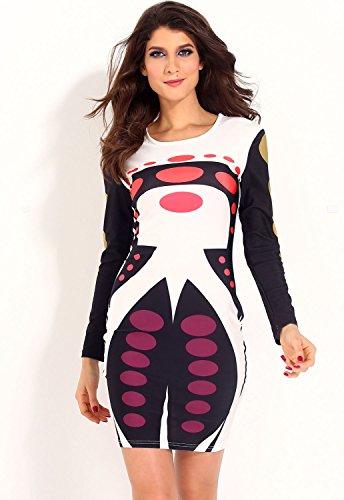 Robe midi Bodycon Imprimé New Mesdames futuriste Club Wear Soirée D'Été Robes Taille M 10