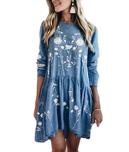 Floral À Manches Longues Occasionnel Des Femmes Domple Évasé Hérisser T-shirt Bleu Mini-robe