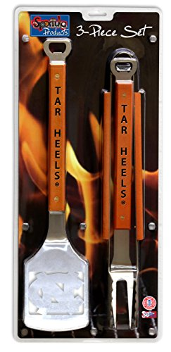 NCAA North Carolina Tar Heels 3PC BBQ Set, Heavy Duty Stainless Steel Grilling Tools