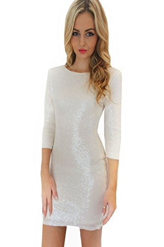 JEYKAY Autumn Glistening Sequin Cocktail Club Party Top Shimmer Glam Glitter Plus Size Fashion Dress Slim Fitting (L, (Shimmer Womens Dress)