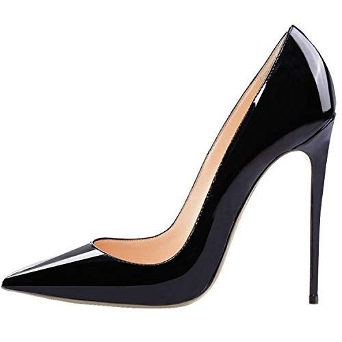 Lovirs Womens Black Pointed Toe High Heel Slip On Stiletto Pumps Wedding Party Basic Shoes 8 M US