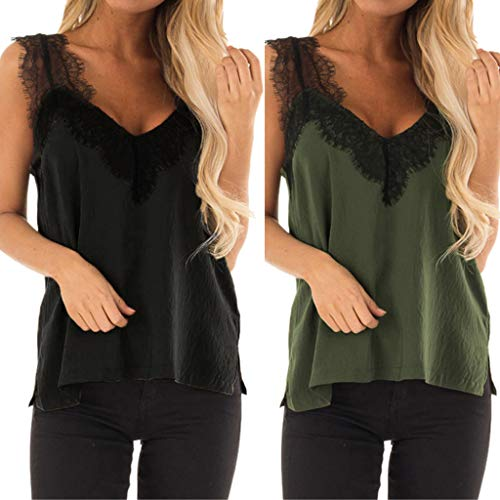 Corriee Womens Summer Casual Lace Patchwork V-Neck Sleeveless Soft Vests Shirts Women's Blouse Tank Tops Black by Corriee (Image #4)