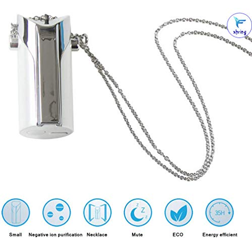 Portable Wearable Necklace Air Purifier, Home Mini Air Lonizers, Hang Neck Personal USB Charging Air Purifier, Personal Air Freshener (White)